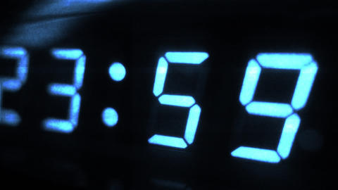 4K Digital Clock Turn to Midnight 0 24 Futuristic Design 2 Footage