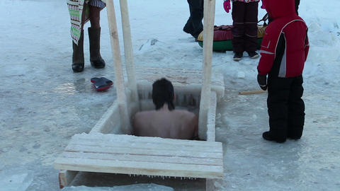 ice swimming Stock Video Footage