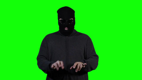 Hacker in Mask Breaking System Fail Greenscreen 3 Stock Video Footage