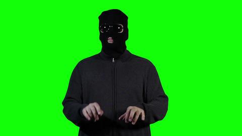 Hacker in Mask Breaking System Fail Greenscreen 3 Footage