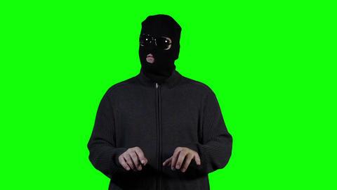 Hacker in Mask Breaking System Fail Greenscreen 3 Stock Video Footage