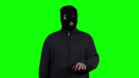 Hacker in Mask Breaking System Success Greenscreen 2 Footage