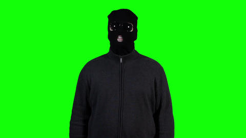 Hacker in Mask Breaking System Success Greenscreen 2 Stock Video Footage