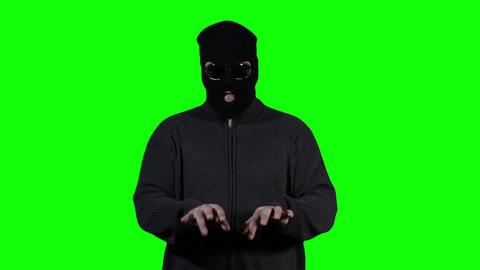 Hacker in Mask Greenscreen 1 Stock Video Footage