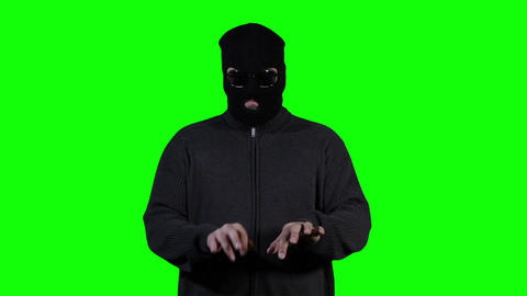Hacker in Mask Greenscreen 1 Stock Video Footage