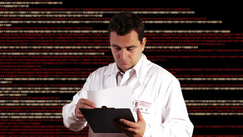 Scientist Checking Documents Binary Numbers Background 2 Footage