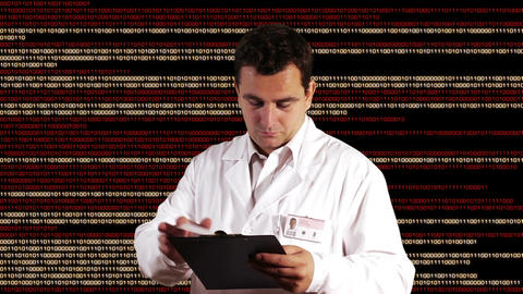 Scientist Checking Documents Binary Numbers Background 2 Stock Video Footage