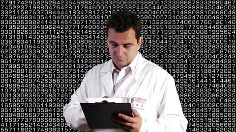 Scientist Checking Documents Decimal Numbers Background 1 Footage