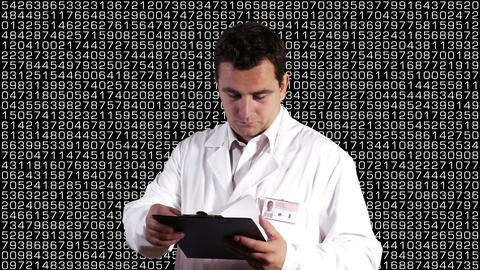 Scientist Checking Documents Decimal Numbers Background 1 Stock Video Footage