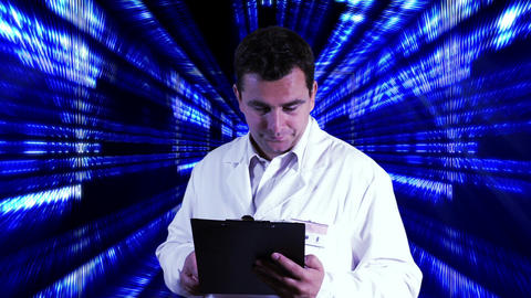 Scientist Checking Documents Numbers Tunnel Background 2 Stock Video Footage