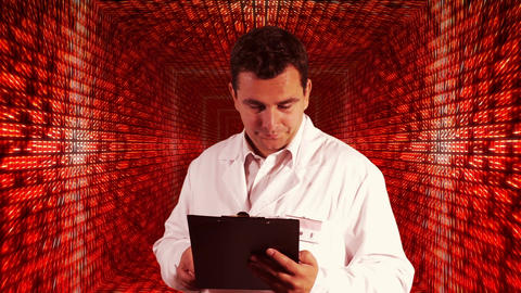 Scientist Checking Documents Numbers Tunnel Background 4 Stock Video Footage