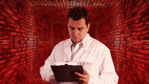 Scientist Checking Documents Numbers Tunnel Background 4 Footage
