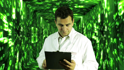 Scientist Checking Documents Numbers Tunnel Background 6 Stock Video Footage