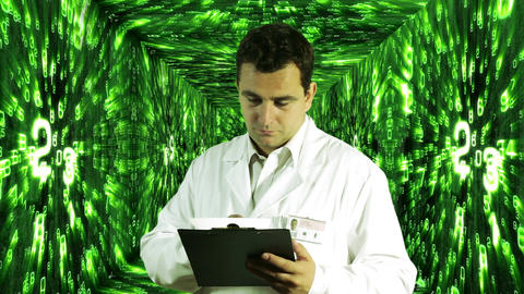 Scientist Checking Documents Numbers Tunnel Background 6 Footage