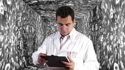 Scientist Checking Documents Numbers Tunnel Background 8 Stock Video Footage