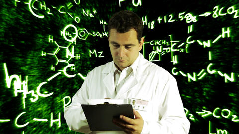 Scientist Checking Documents Scientific Chemistry Background 2 Footage