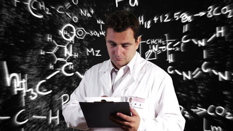 Scientist Checking Documents Scientific Chemistry Background 4 Footage