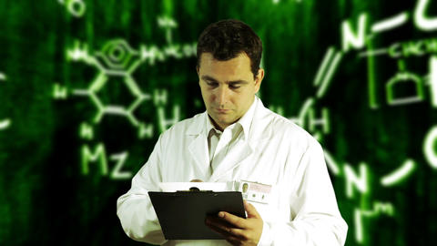 Scientist Checking Documents Scientific Chemistry Background 6 Footage