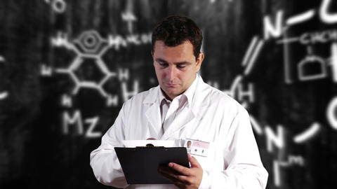 Scientist Checking Documents Scientific Chemistry... Stock Video Footage