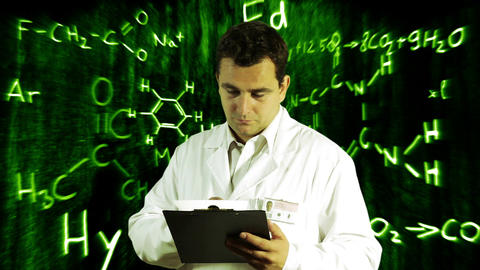 Scientist Checking Documents Scientific Chemistry Background 10 Footage
