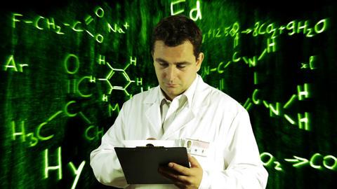Scientist Checking Documents Scientific Chemistry Background 10 Footage