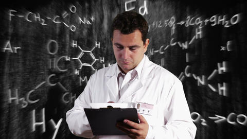 Scientist Checking Documents Scientific Chemistry Background 12 Footage