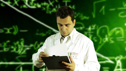 Scientist Checking Documents Scientific Mathematics Background 2 Footage