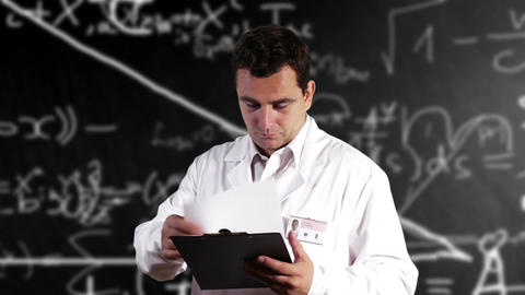 Scientist Checking Documents Scientific Mathematics Background 4 Footage