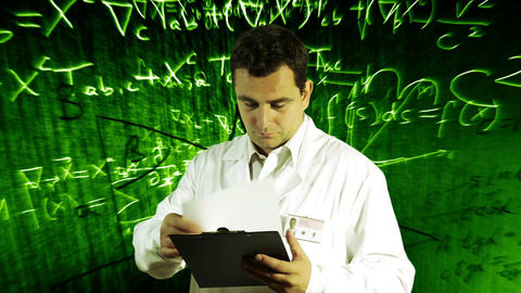 Scientist Checking Documents Scientific Mathematics Background 6 Footage