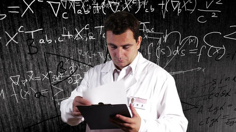 Scientist Checking Documents Scientific Mathematics Background 8 Footage