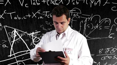 Scientist Checking Documents Scientific Mathematics Background 12 Footage