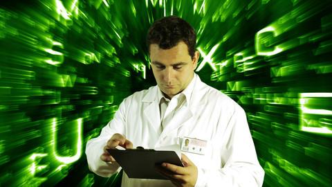 Scientist Checking Documents Scientific Mathematics Background 16 Footage
