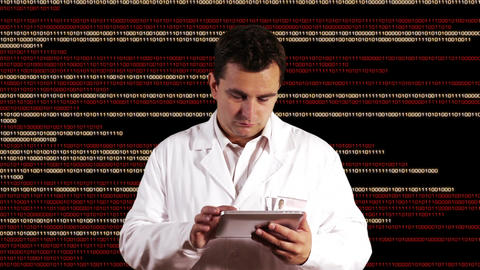 Scientist using Tablet PC Binary Numbers Background 2 Stock Video Footage