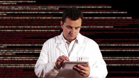 Scientist using Tablet PC Binary Numbers Background 2 Footage