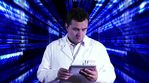 Scientist using Tablet PC Binary Numbers Tunnel Background 2 Stock Video Footage