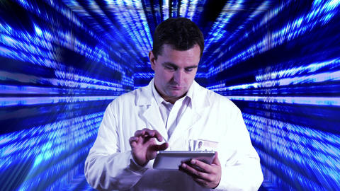 Scientist using Tablet PC Binary Numbers Tunnel Background 2 Footage