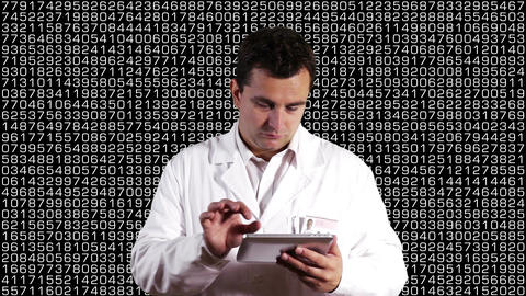Scientist using Tablet PC Decimal Numbers Background 1 Footage