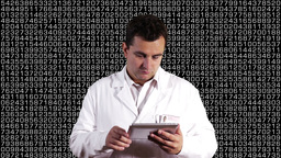 Scientist using Tablet PC Decimal Numbers Background 1 Stock Video Footage