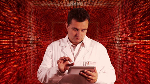Scientist using Tablet PC Decimal Numbers Tunnel Background 4 Footage