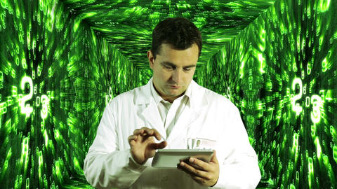 Scientist using Tablet PC Decimal Numbers Tunnel Background 6 Footage