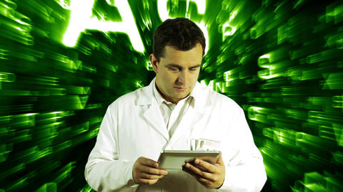 Scientist Using Tablet PC Forming Science Text Background 4 Stock Video Footage