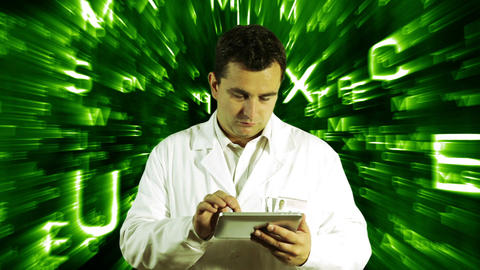 Scientist Using Tablet PC Forming Science Text Background 4 Footage