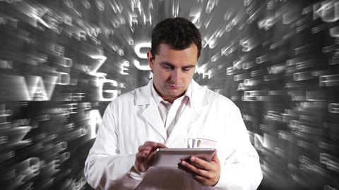 Scientist Using Tablet PC Forming Science Text Background 6 Stock Video Footage