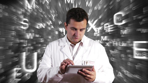 Scientist Using Tablet PC Forming Science Text Background 6 Footage