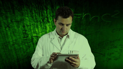 Scientist Using Tablet PC Scientific Mathematics... Stock Video Footage