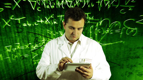 Scientist Using Tablet PC Scientific Mathematics Background 12 Footage