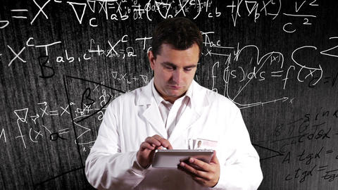 Scientist Using Tablet PC Scientific Mathematics Background 14 Footage