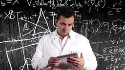 Scientist Using Tablet PC Scientific Mathematics... Stock Video Footage