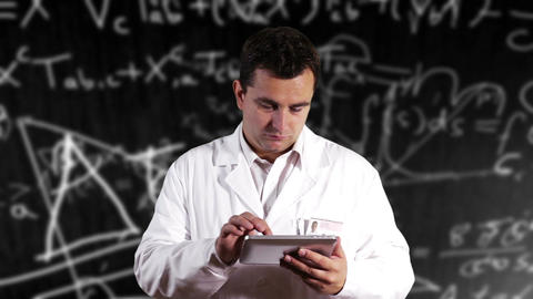 Scientist Using Tablet PC Scientific Mathematics Background 18 Footage