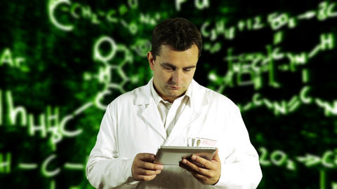 Scientist using Tablet PC with Scientific Chemistry... Stock Video Footage